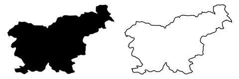 仅简单的锋利的角落映射-共和国斯洛文尼亚传染媒介博士 库存例证