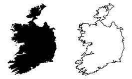 仅简单的锋利的角落映射-爱尔兰共和国无 皇族释放例证