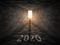 今后方式到2020作为认为在箱子概念外面 免版税库存照片