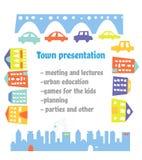 介绍或都市会议的镇海报 也corel凹道例证向量 向量例证
