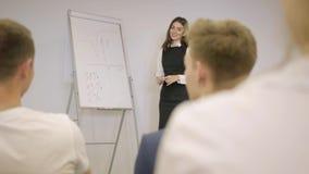 介绍新的项目的女实业家对有活动挂图的,屈服介绍的组长伙伴同事 股票录像