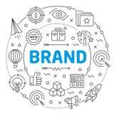 介绍的品牌线性例证幻灯片 免版税库存图片