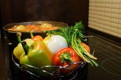 仍然厨房生活 新鲜的未加工的蔬菜和一口煮沸的大锅有开胃晚饭膳食的在电火炉 食物新鲜的日本沙拉蔬菜 免版税图库摄影
