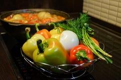仍然厨房生活 新鲜的未加工的蔬菜和一口煮沸的大锅有开胃晚饭膳食的在电火炉 食物新鲜的日本沙拉蔬菜 图库摄影