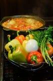 仍然厨房生活 新鲜的未加工的蔬菜和一口煮沸的大锅有开胃晚饭膳食的在电火炉 食物新鲜的日本沙拉蔬菜 库存照片