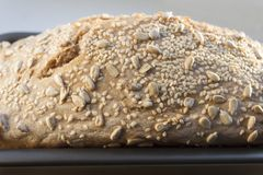 仍然新近地煮熟的白面包在烤面包锅 图库摄影