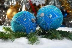 仍然球蓝色圣诞节寿命 免版税库存照片