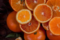 仍然生活桔子 橙色山 特写镜头 图库摄影