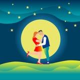 仍然相连爱和幸福例证的夫妇表示 免版税库存图片