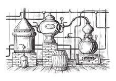 仍然蒸馏器制造的在槽坊剪影里面的酒精 皇族释放例证