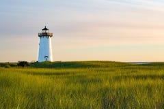仍然起作用,在早晨光的Edgartown灯塔 库存图片
