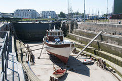 仍然运作在荷兰的最旧的干船坞 库存图片