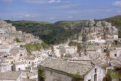 从†‹â€ ‹中心地区采取的马泰拉镇的看法镇 免版税库存图片
