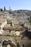 从†‹â€ ‹中心地区采取的马泰拉镇的看法镇 库存照片