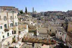 从†‹â€ ‹中心地区采取的马泰拉镇的看法镇 库存图片