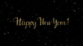 从一个假日形成的金微粒的新年快乐词给背景赋予生命 股票视频