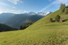 从一个农场的农村场面在一个山牧场地中在瓦莱亚乌里纳, Ita 免版税库存图片