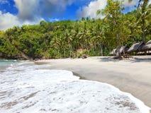 从一个沙滩的视图。 印度尼西亚,巴厘岛 库存照片