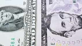 从一个的幻灯片录影票据到与美国总统画象的十美元  股票视频