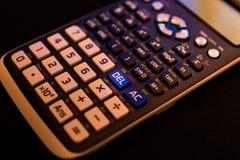 从一个科学计算器的键盘的删除键 免版税库存照片