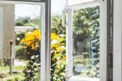 从一个老农村窗口的看法在一个晴朗的夏天庭院里 库存图片