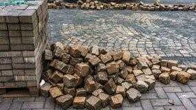 从一个街道部分的修理在城市 免版税库存图片