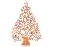 从一件金黄装饰品的圣诞树与圣诞节树装饰 查出在白色 免版税库存图片