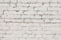 从一块白色砖直接的Gorizontal的老墙壁 免版税图库摄影