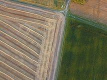 从一次鸟` s飞行的高度的看法从飞行寄生虫的到农业领域,准备为播种播种 库存照片