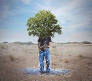 从一片干燥沙漠的水 免版税库存照片