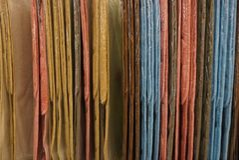 从一系列的地毯的色的织品背景 图库摄影