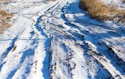 从一辆汽车的脚印在雪 免版税库存图片