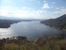 从一辆驾空滑车拍的美丽的照片在卡洛斯帕兹在科多巴阿根廷 免版税库存图片