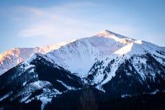 从上陶恩的看法在山Bruderkogel,Steinermandl,Schafgupf的日落的 免版税图库摄影