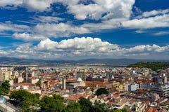 从上面的卡利亚里,撒丁岛,意大利都市风景 免版税库存照片