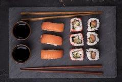 从上面被设置的寿司 库存图片