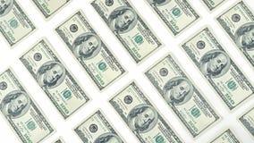 从上面贴墙纸美国金钱在白色背景隔绝的一百元钞票视图 许多美国100钞票 免版税库存图片