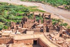 从上面Ksar Ait Benhaddou视图,瓦尔扎扎特,摩洛哥 免版税库存图片