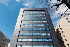 从下面看与不生叶的树和明白蓝天早晨札幌的现代大厦 北海道,日本 库存图片