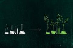 从与化学制品的实验室小玻璃瓶到有绿色ingre的其他瓶 皇族释放例证