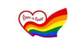 从与文本的心脏爱是爱来彩虹旗子-自豪感lgbt和lgbtq的标志 彩虹标志同性恋者,女同性恋者,变性 库存例证