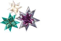 从丝带的三origami星形 免版税库存图片