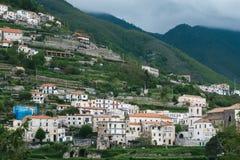 从中央寺院正方形看的美丽的景色,拉韦洛,阿马尔菲海岸,意大利 库存图片