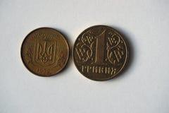 从乌克兰的两枚硬币 库存照片