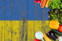 从乌克兰的新鲜蔬菜在桌上 烹调在木旗子背景的概念 免版税库存图片