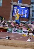 从乌克兰的Andriy AVRAMENKO在国际田联世界U20冠军的跳远事件的在坦佩雷, 2018年7月11日的芬兰 库存图片