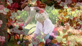 从事园艺与在前景的心脏地毯的成熟夫妇 股票视频