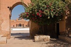 从事园艺在位于马拉喀什的一个被破坏的16世纪Saadian朝代El巴迪宫殿的遗骸里面,摩洛哥 免版税库存照片