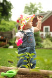 从事园艺的女孩少许 免版税库存照片