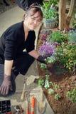 从事园艺的妇女 库存图片